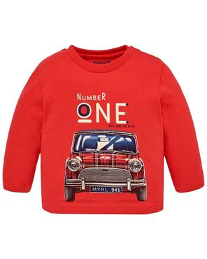 Mayoral Baby Jungen Langarmshirt Mini Auto in rot 001