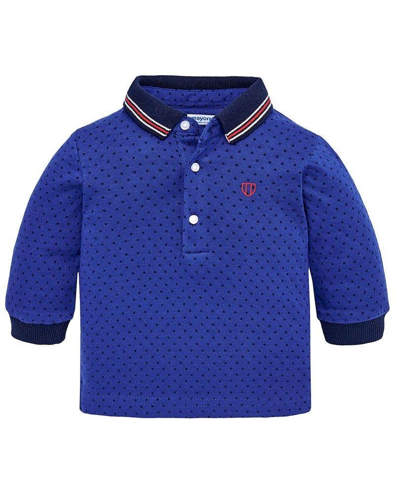 Mayoral Baby Jungen Poloshirt langarm in blau gepunktet