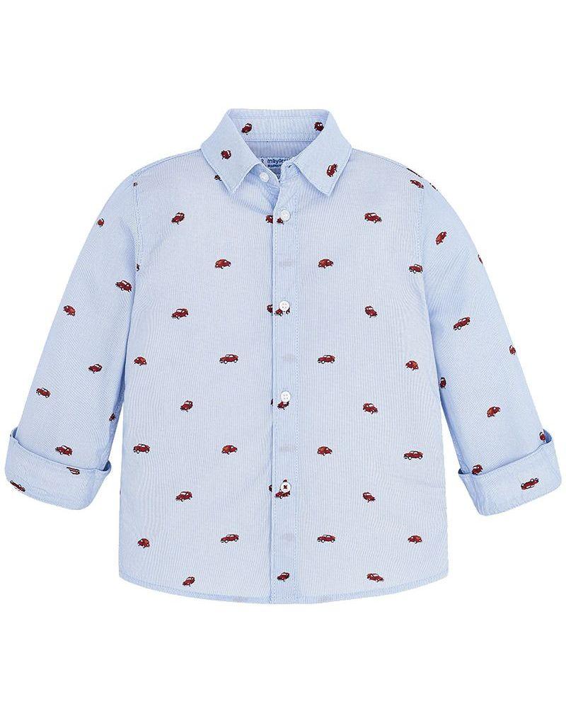 Mayoral festliches Jungen Hemd langarm gestreift mit Autoprint – Bild 1