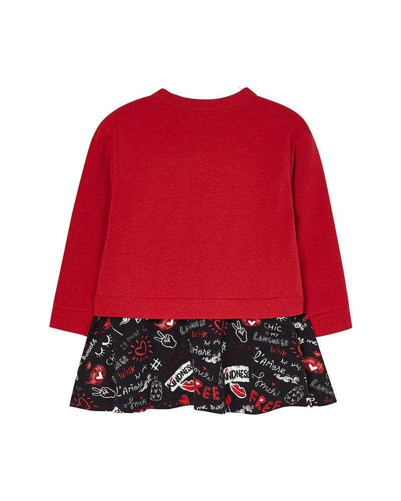 Mayoral Mädchen Kleid langarm Sweatkleid Winterkleid rot – Bild 2