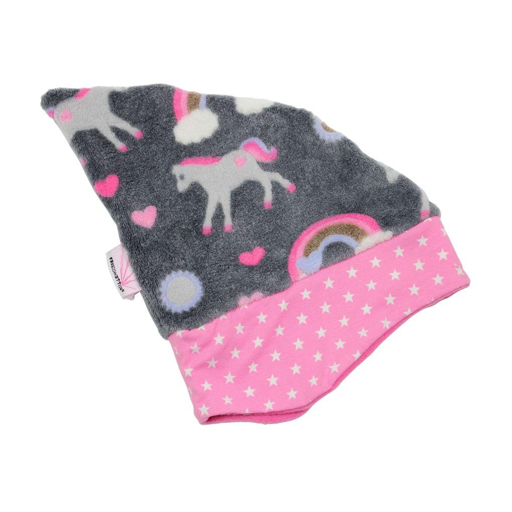 Farbgewitter Baby Mädchen Wintermütze Zipfelmütze Einhorn aus Fleece Zippy – Bild 1