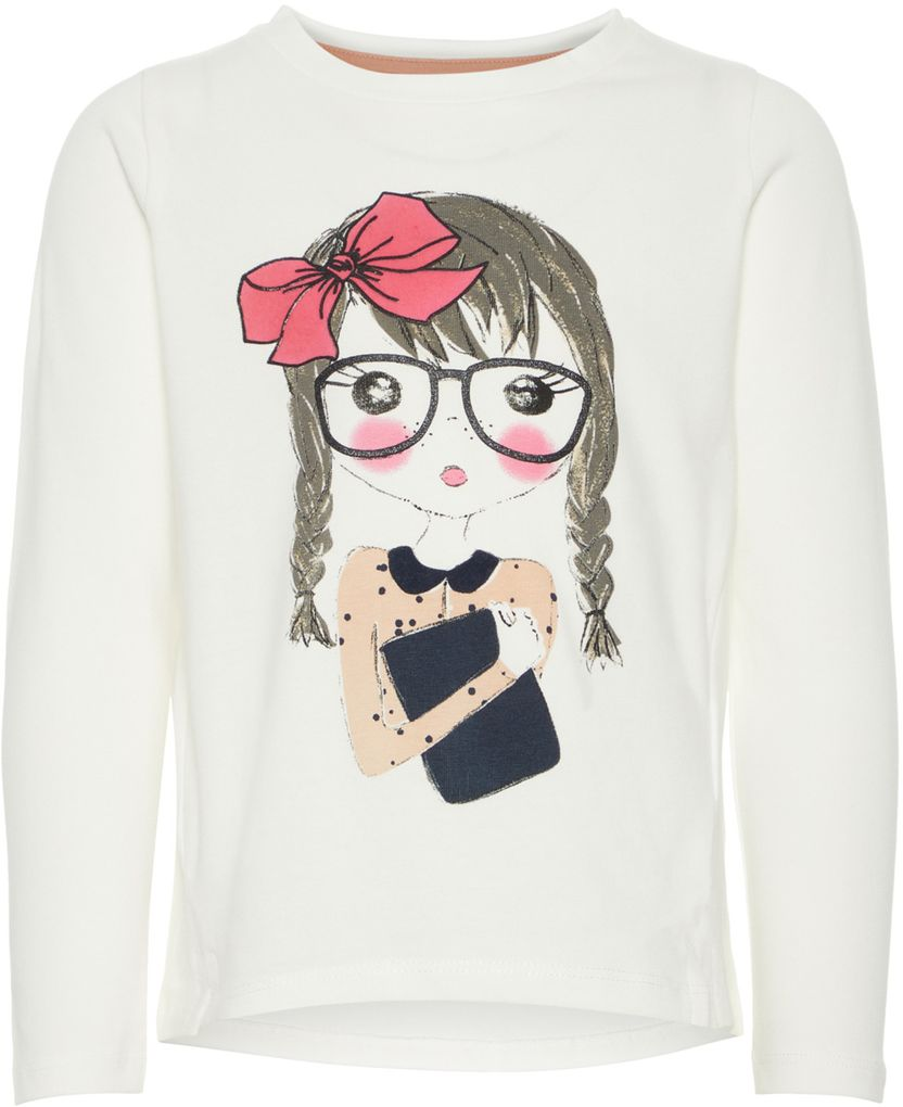 Name it Mädchen Longsleeve Langarmshirt NMFNARDINE in snow white