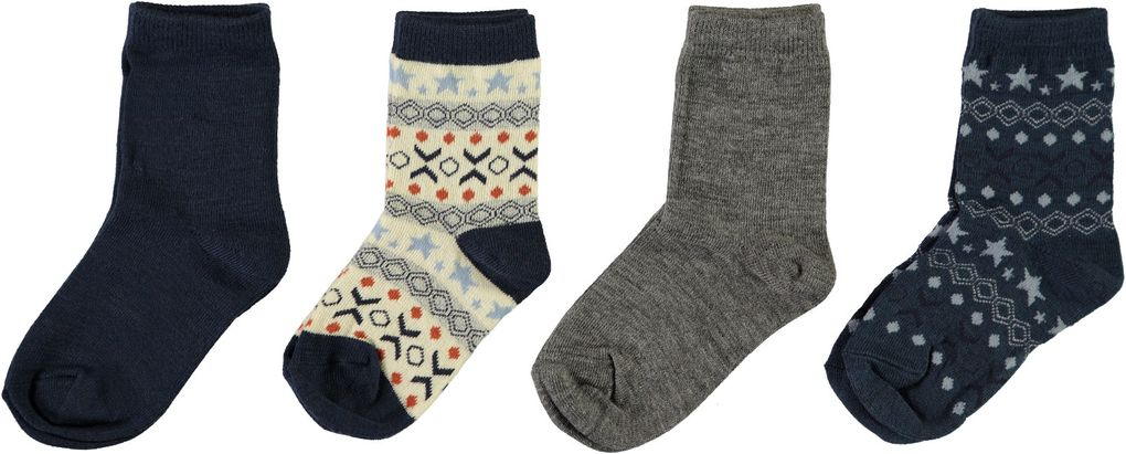 Name it Kinder unisex Woll-Socken Merinowolle 4er Pack NMMWAK