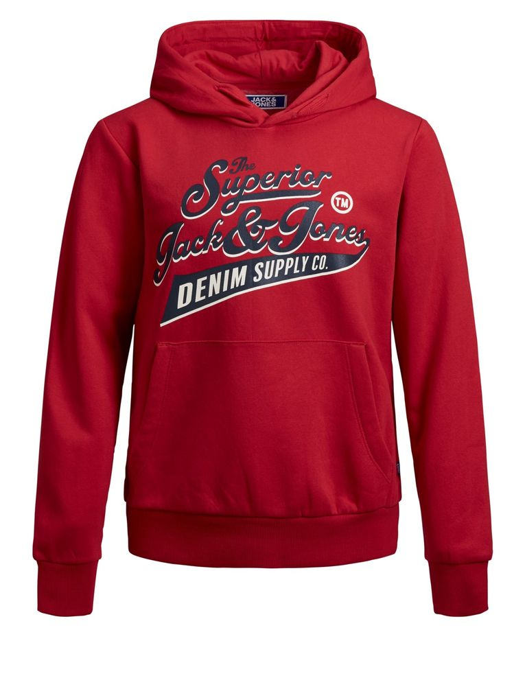 Jack & Jones Jungen Sweatshirt Kapuzen-Hoodie angeraut in tango red