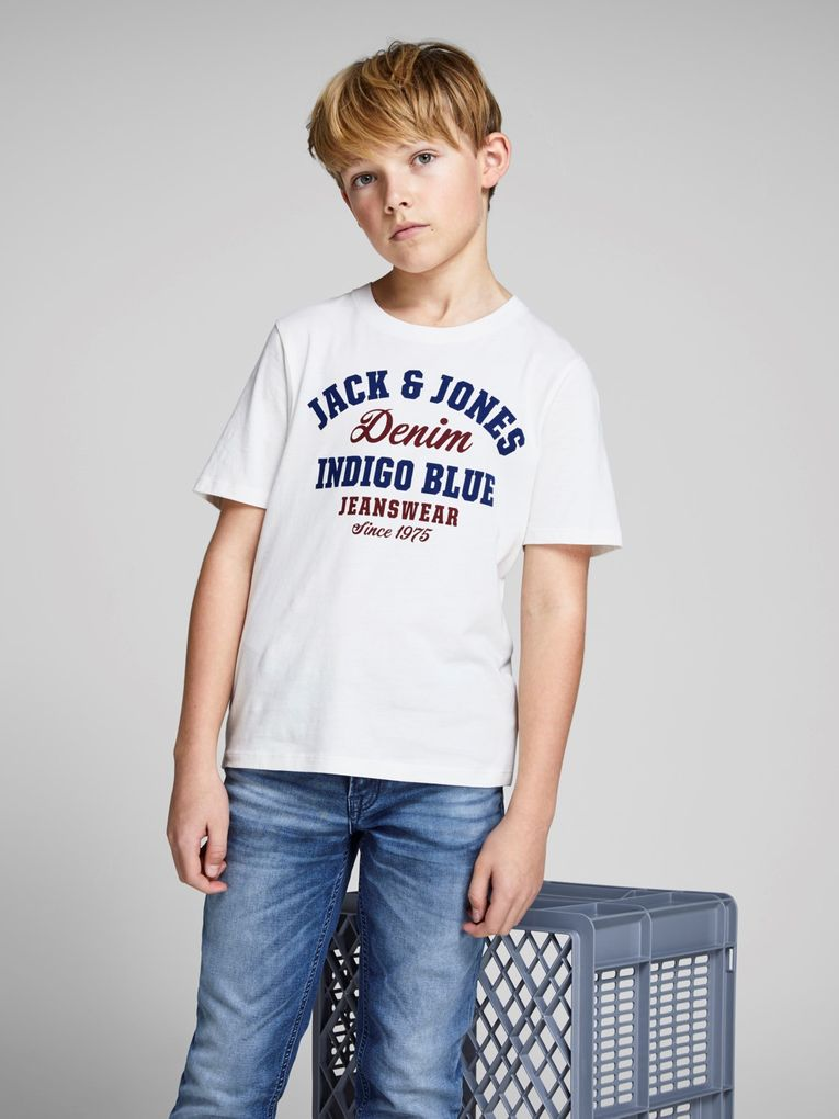 Jack&Jones Jungen T-Shirt kurzarm Logo-Print Shirt in cloud dancer – Bild 8