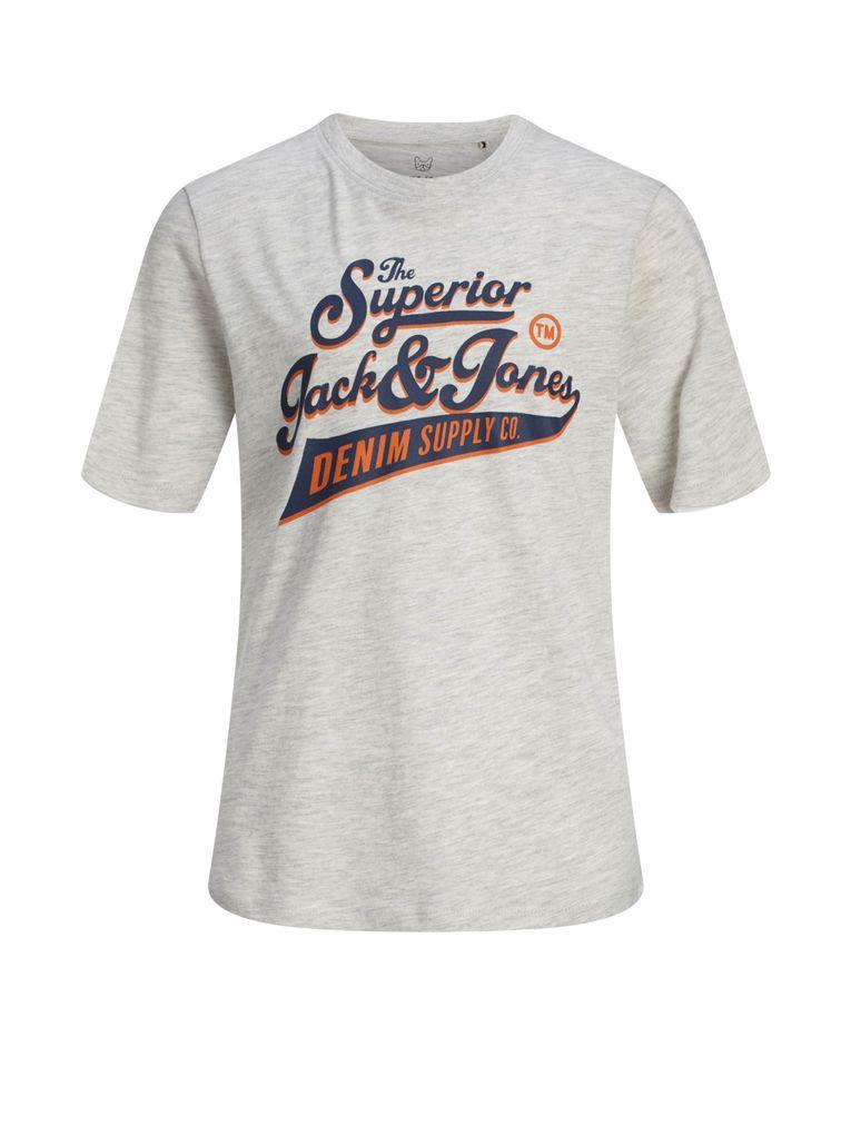 Jack&Jones Jungen T-Shirt kurzarm Logo-Print Shirt white melange