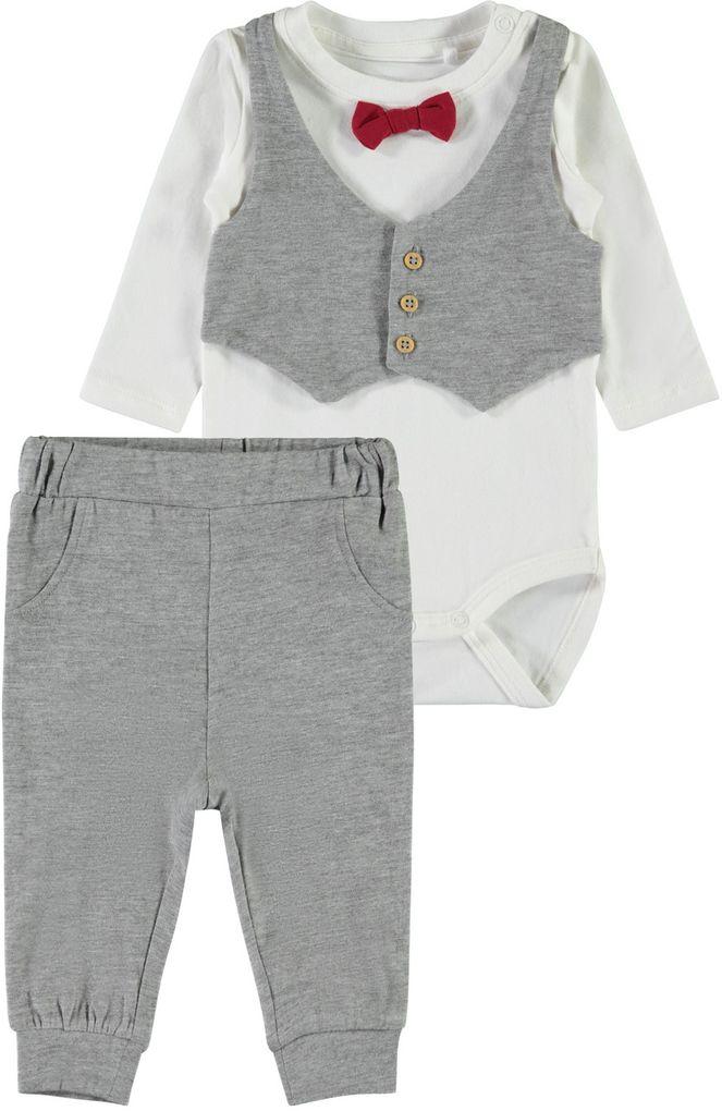 Name it Baby Jungen Set 2-teilig Body mit Weste, Fliege und Hose NBMSEFEST