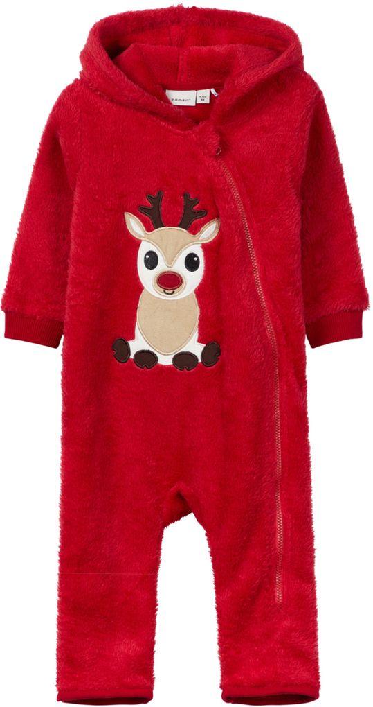 Name it Baby Unisex  Weihnachts-Overall NBNRUDO aus Plüschfell rot