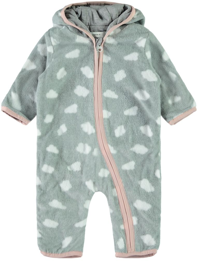 Name it Baby Mädchen Fleece-Overall mit Kapuze Wagenanzug NBFMABEL grey melange