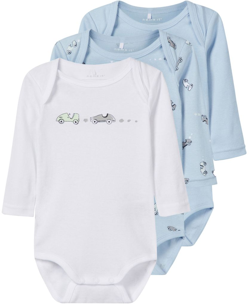 Name it Baby Jungen Langarmbody 3er Pack Baumwolle NBMBODY cashmere blue