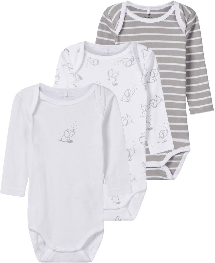 Name it Baby Langarmbody 3er Pack Baumwolle NBNBODY