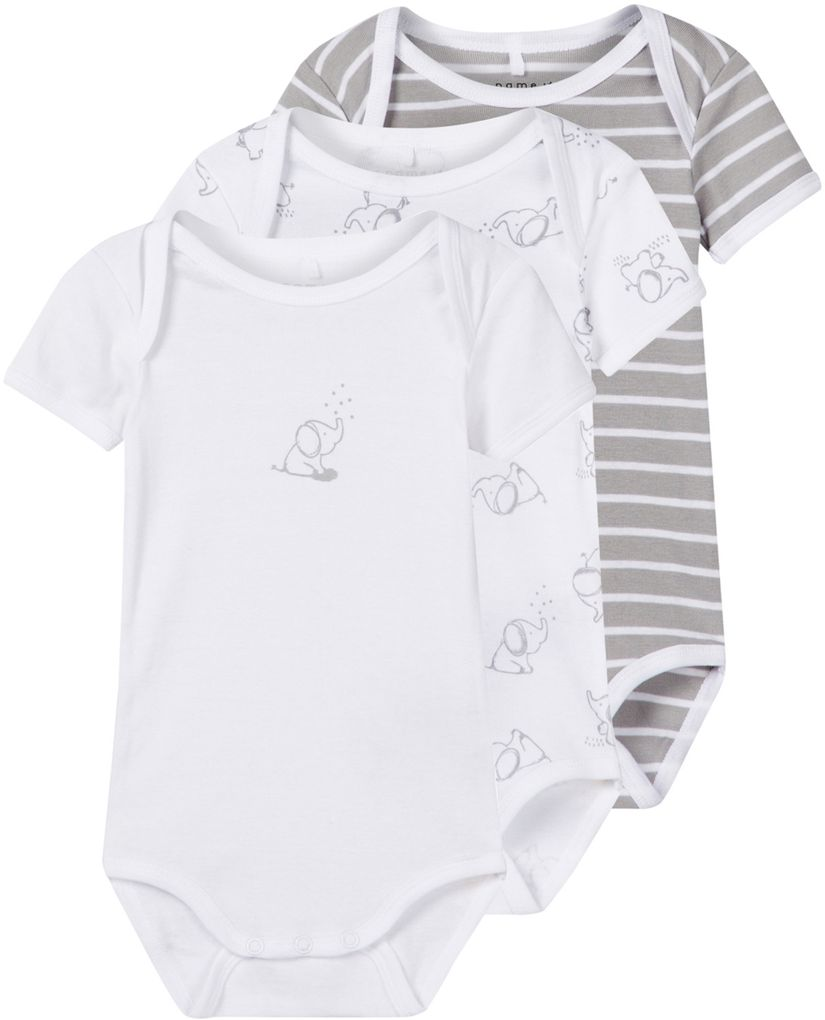 Name it Baby Body kurzarm 3er Pack Baumwolle NBNBODY Unisex alloy