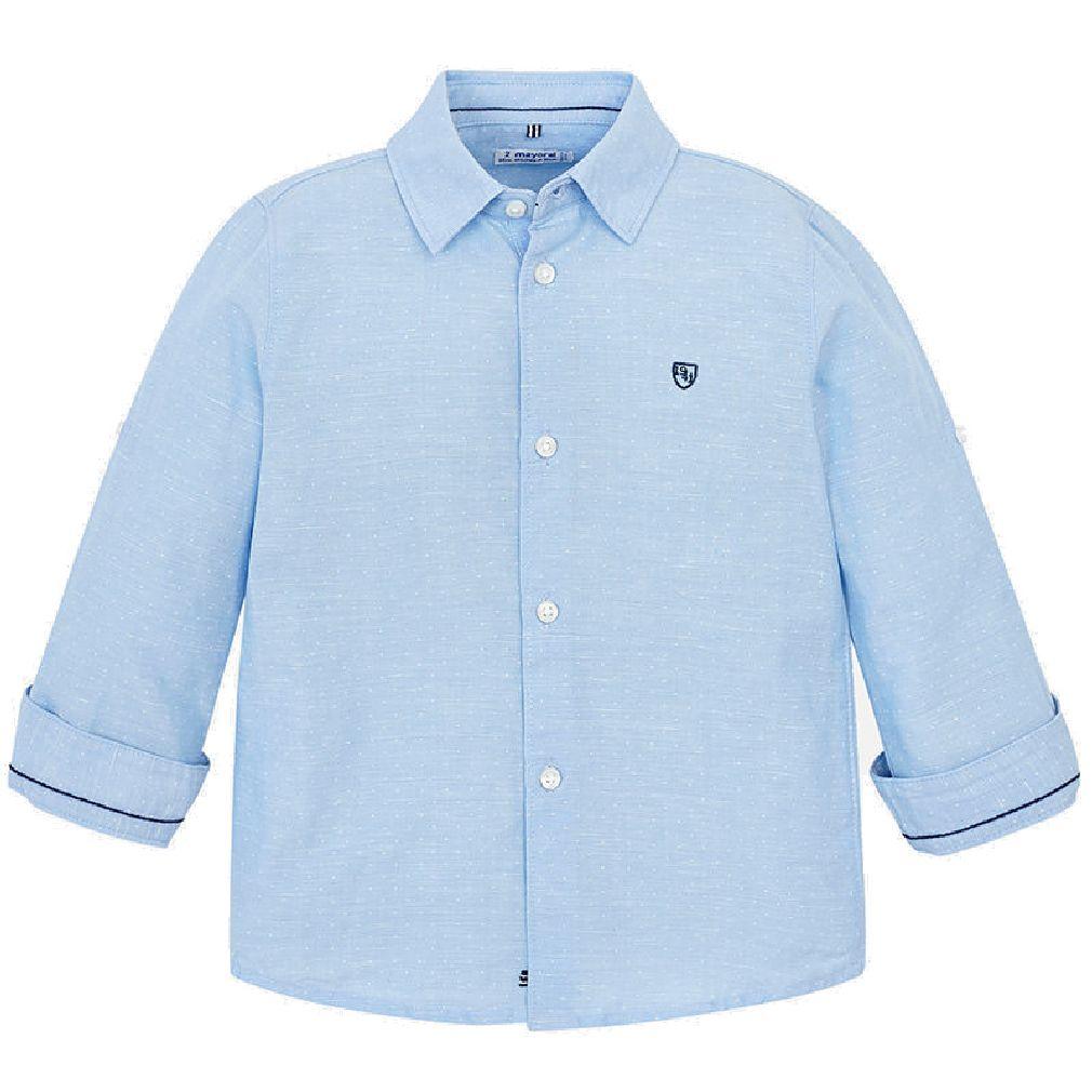Mayoral Jungen Anzug-Hemd langarm festlich dezent gepunktet hellblau – Bild 1
