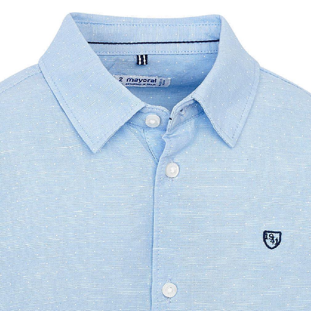 Mayoral Jungen Anzug-Hemd langarm festlich dezent gepunktet hellblau – Bild 3