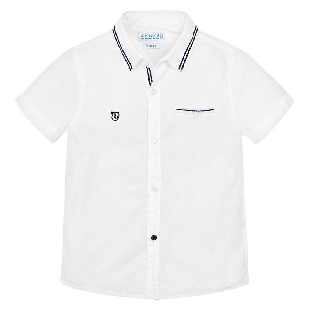 Mayoral Kinder Jungen Hemd kurzarm weiß slim fit