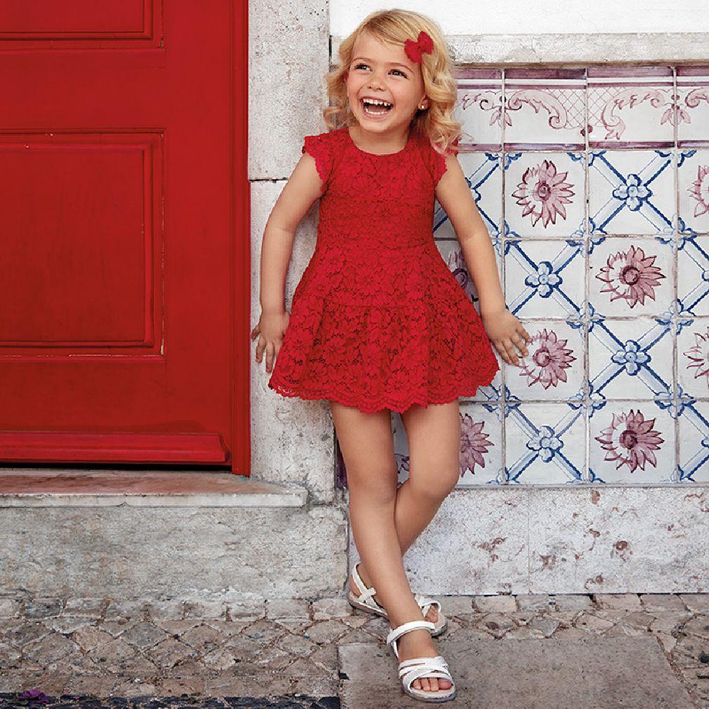 Mayoral Kinder Mädchen Sommer-Kleid aus floraler Spitze festlich in rot – Bild 4