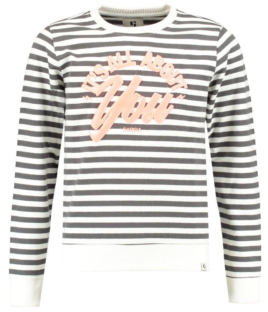 Garcia Mädchen Sweatshirt mit Rubberprint in off white gestreift – Bild 1