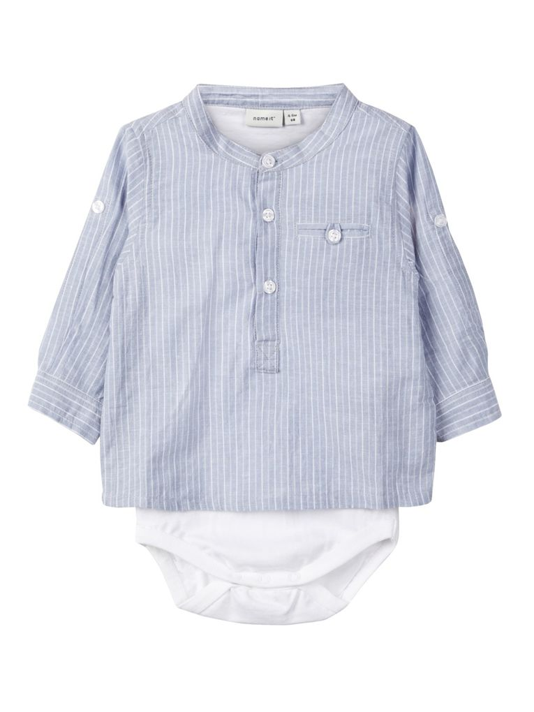 Name it Baby Jungen Hemd-Body Taufhemd NBMfabian in hellblau
