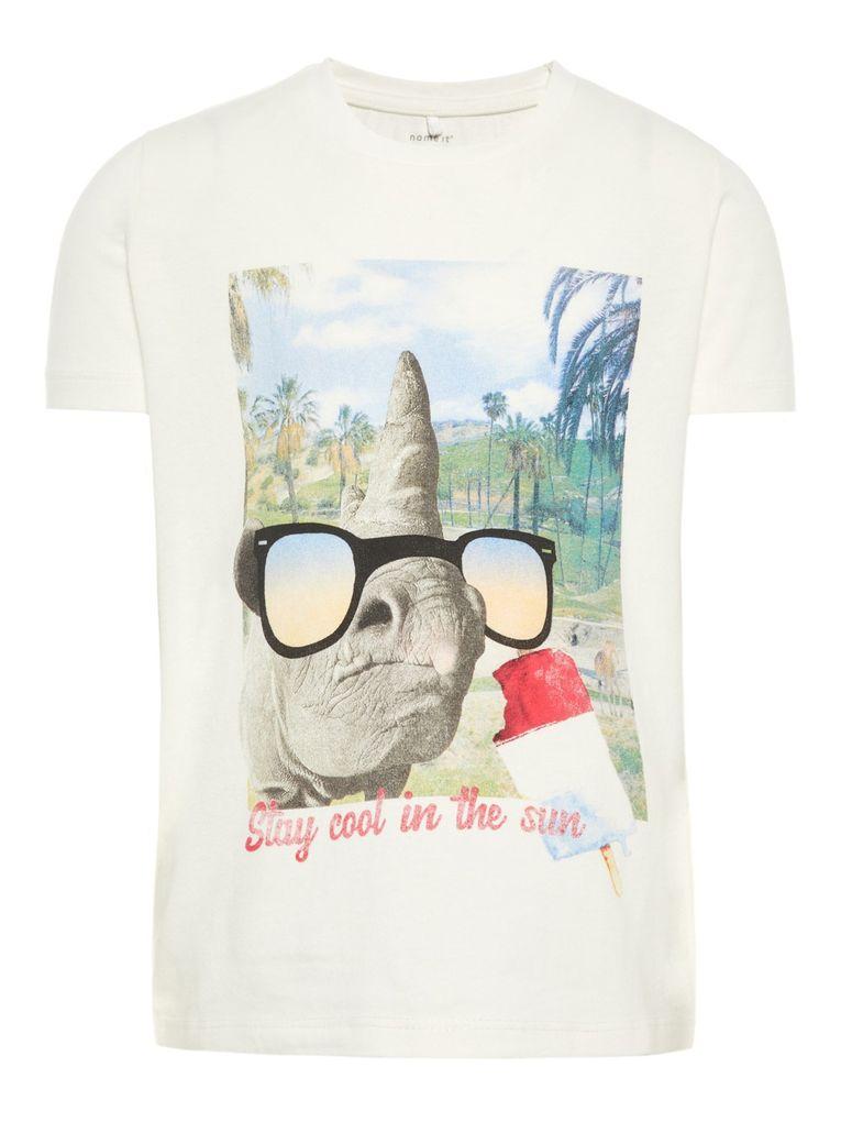Name it Jungen T-Shirt kurzarm Nashorn mit Sonnenbrille NMMfabus – Bild 1