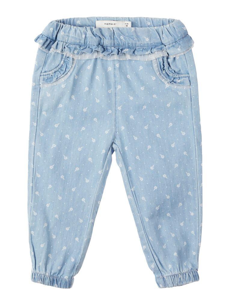 Name it Baby Mädchen Sommer Jeans mit Blumenprint NBFRIE – Bild 1