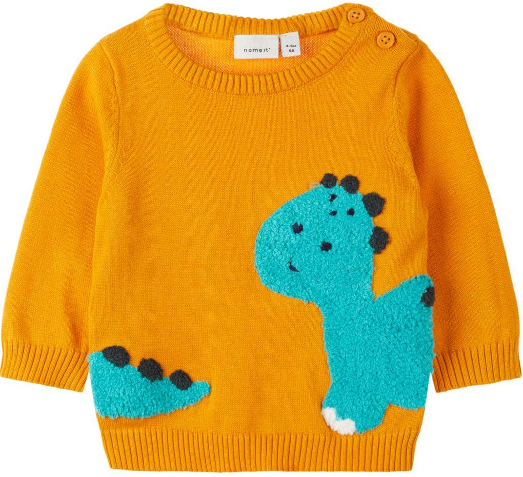 Name it Baby Jungen Strick-Pullover NBMNADION LS KNIT Dino – Bild 1