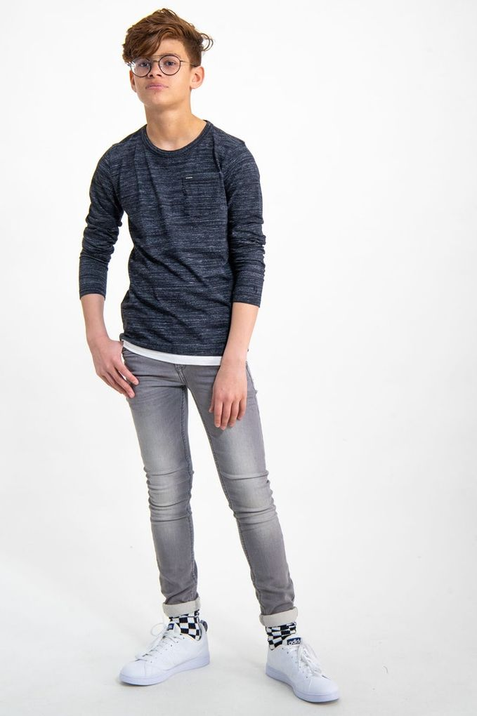 Garcia Jungen Langarmshirt in Doppeloptik Baumwolle meliert – Bild 4
