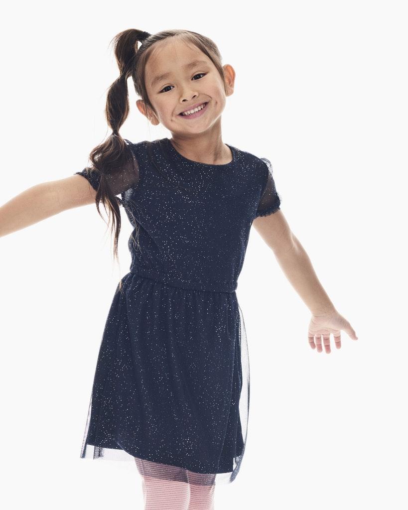Garcia Madchen Tull Kleid Dunkelblau Kurzarm Festlich Online Kaufen Dorins Kindermode