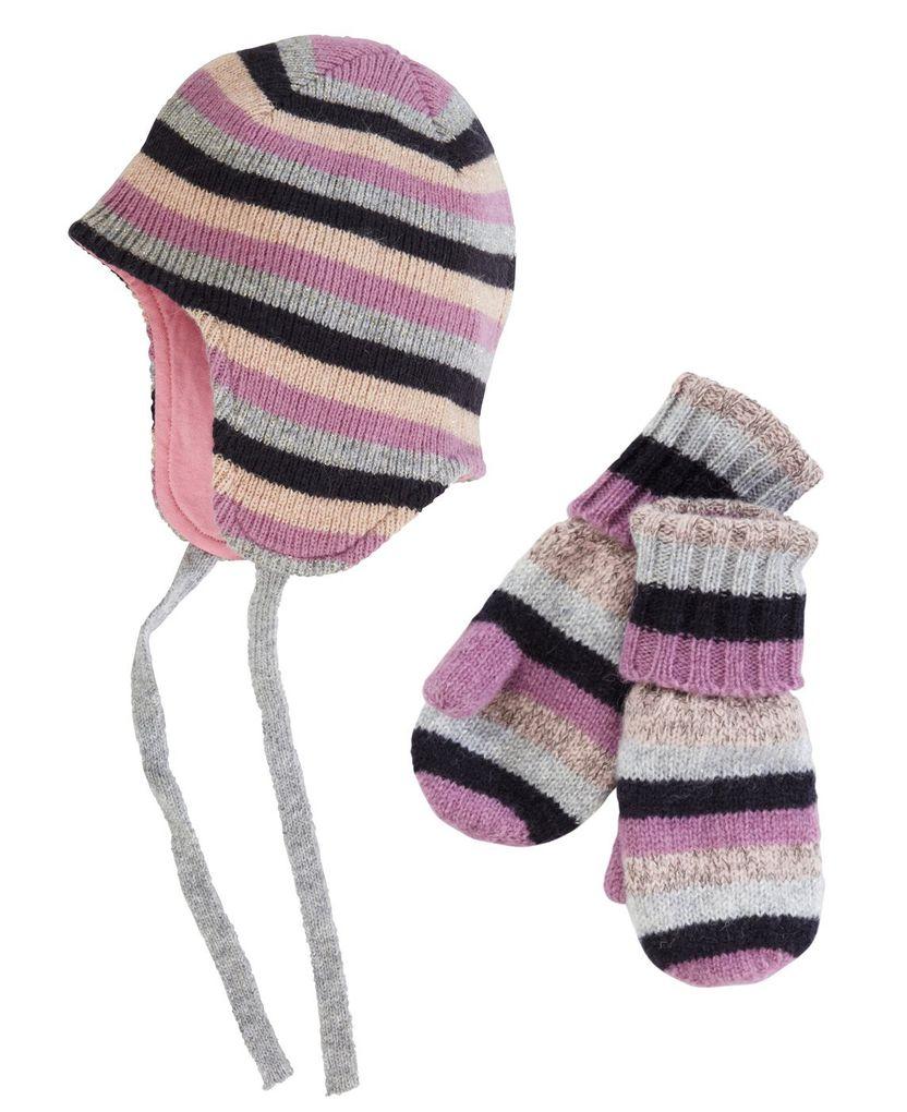 Name it mini Mädchen Set Strick-Mütze & Handschuhe  Milky