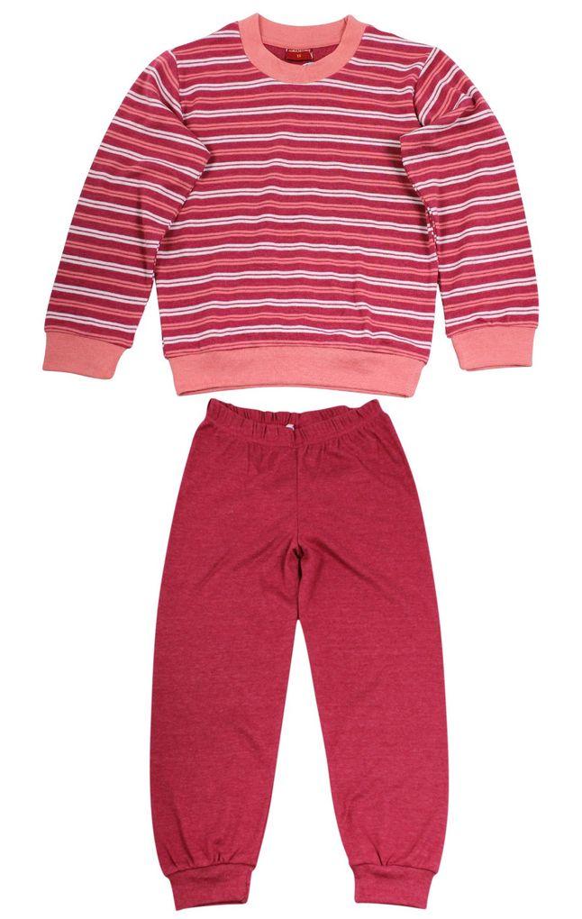 Normann Mädchen Schlafanzug geringelt Kuschel Interlock – Bild 2