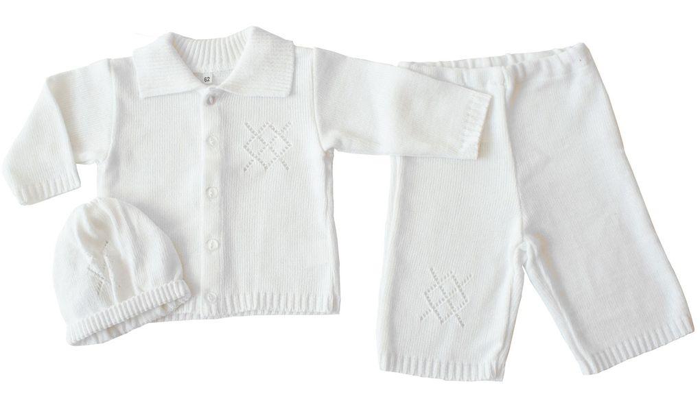 Taufanzug Jacke, Hose und Mütze Eko Baby Set