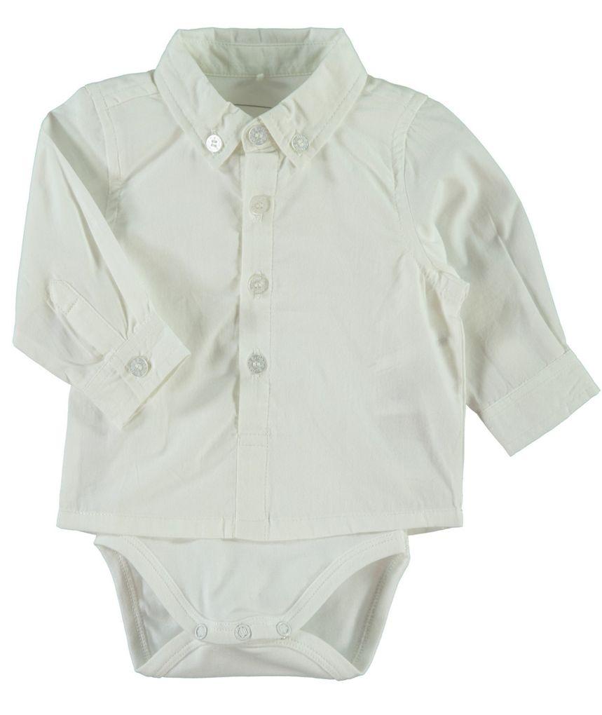 NAME IT Baby Jungen Hemd mit Body Sander weiß
