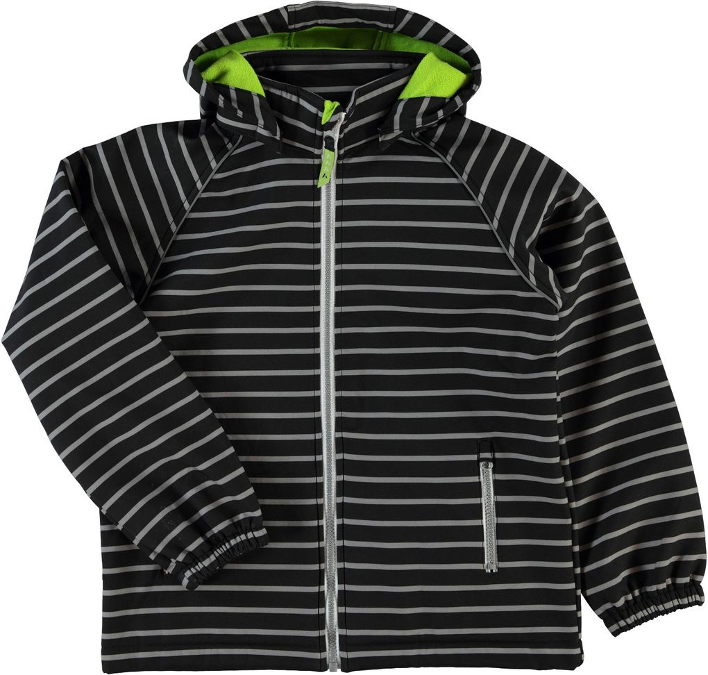 NAME IT Kinder Softshelljacke black gestreift Alfa – Bild 1