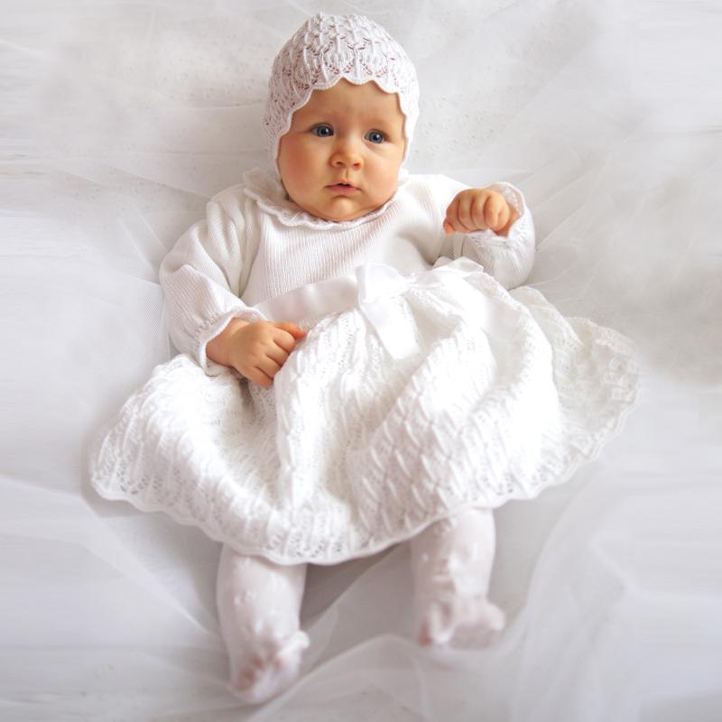Eko Taufkleid für Mädchen Set Mütze und Strickkleid weiß – Bild 4