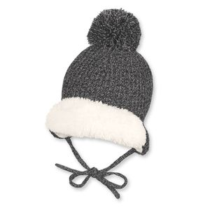 Sterntaler Baby Winter-Strickmütze mit Bommel in anthratit