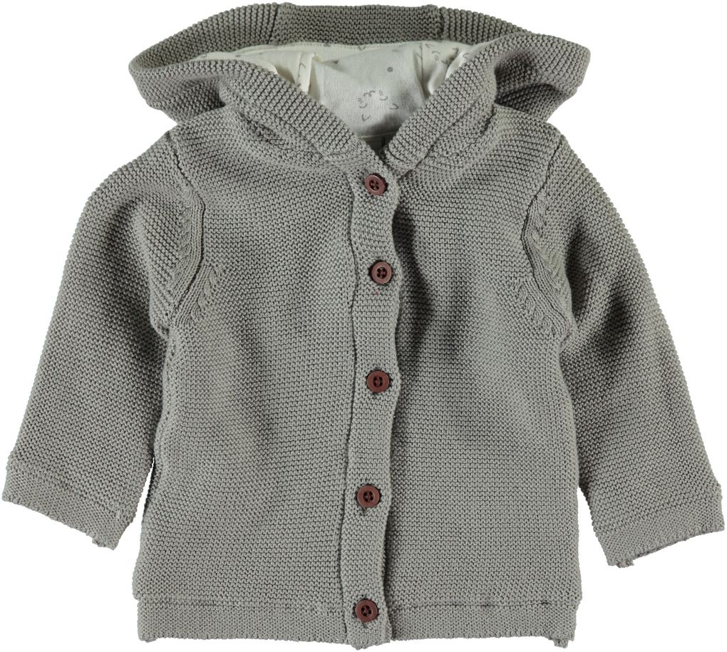 Name it newborn Strickjacke mit Kapuze Nituno grau – Bild 1