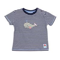 Salt and Pepper Baby T-Shirt blau gestreift mit Walmotiv – Bild 2