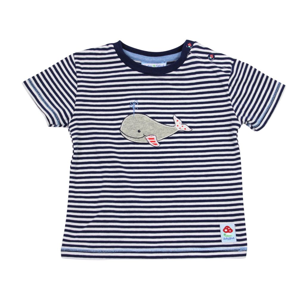 Salt and Pepper Baby Jungen T-Shirt blau gestreift mit Walmotiv – Bild 2
