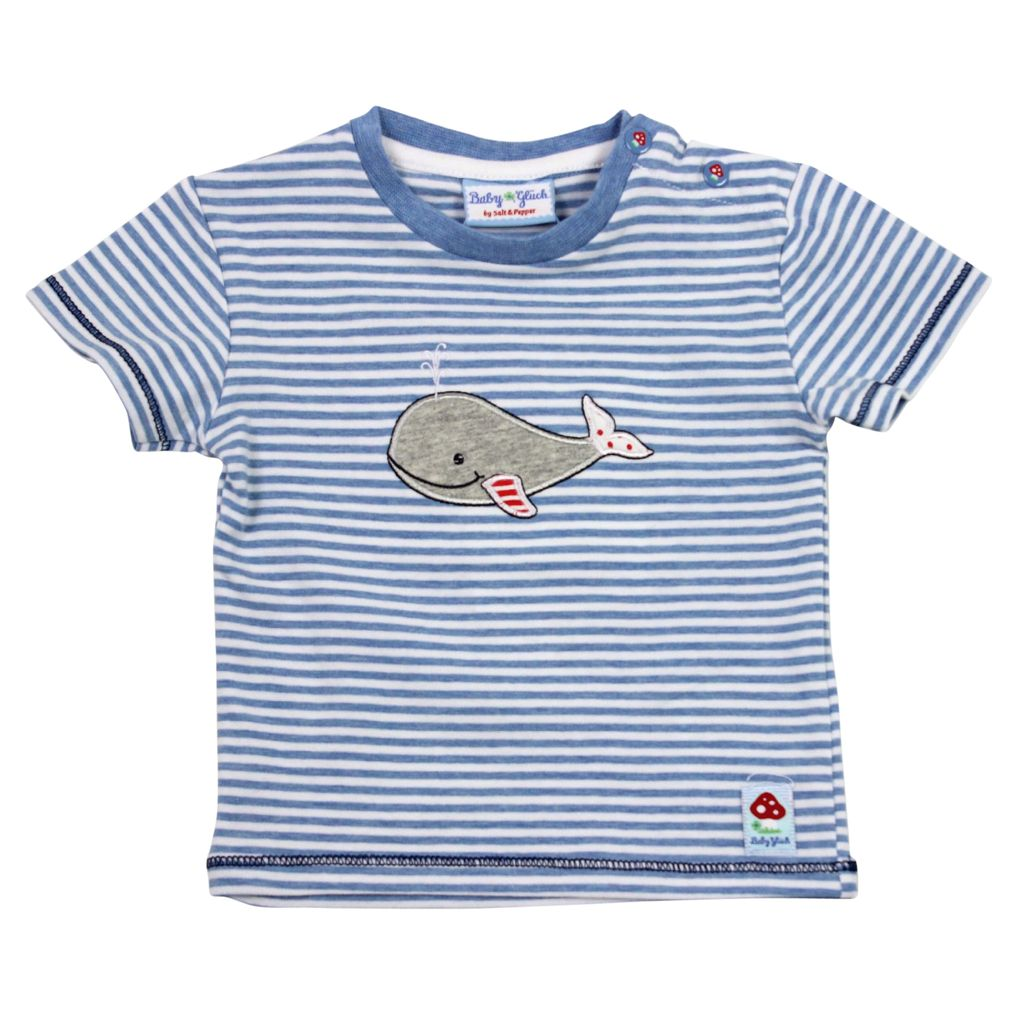 Salt and Pepper Baby T-Shirt blau gestreift mit Walmotiv – Bild 1