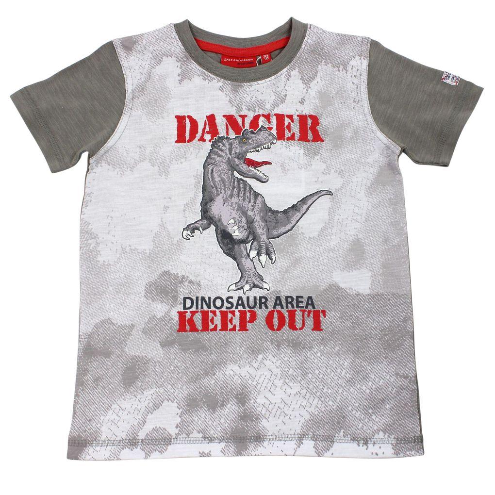 Salt and Pepper Jungen T-Shirt Tyrannosaurus rex Dinosaurier leuchtet im Dunkeln – Bild 1