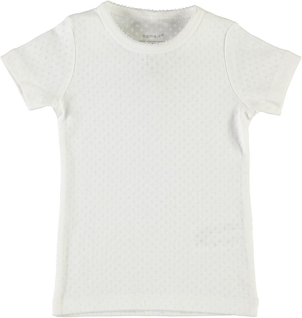 Name it Mädchen Basic Kurzarmshirt unifarben Nitvitte mini – Bild 1