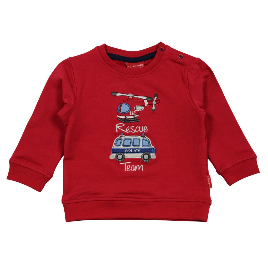 Salt & Pepper Baby Jungen Sweatshirt Little Hero Rescue Polizeiauto Hubschrauber – Bild 1