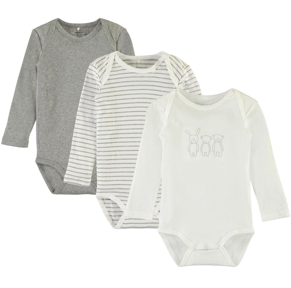 Name it Baby Langarmbody unisex im günstigen 3er Set