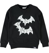 Name it Jungen Sweater Hoodie Fledermaus schwarz Nithik