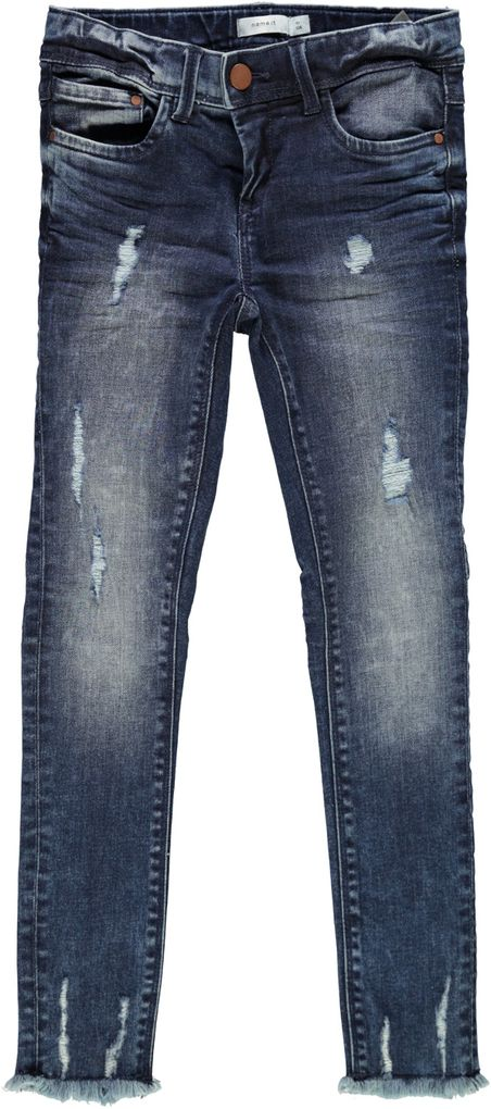 Name it Mädchen Skinny destroyed Jeans Nittendi dark denim – Bild 1