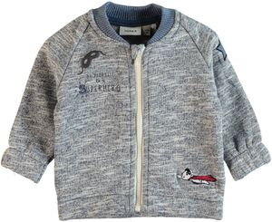 Name it Baby Sweatjacke Cardigan Nitgeorge blau meliert mit Patches