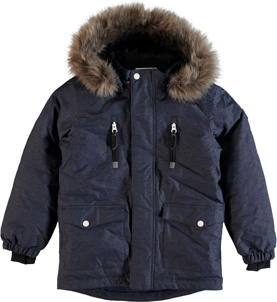 Name it Jungen Winter Parka mit Fellrand-Kapuze Nitmedenim wasserfest 8000 mm