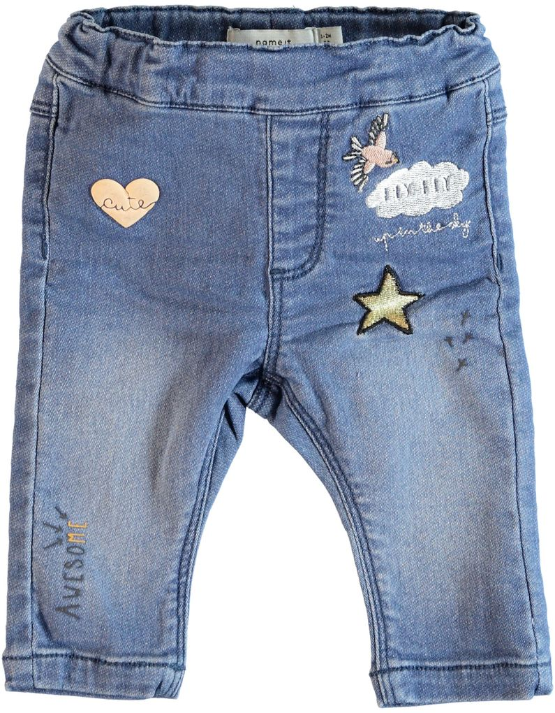 Name it Baby Mädchen Jeanshose Jeggings Nitarona Sweat Denim mit Patches – Bild 1