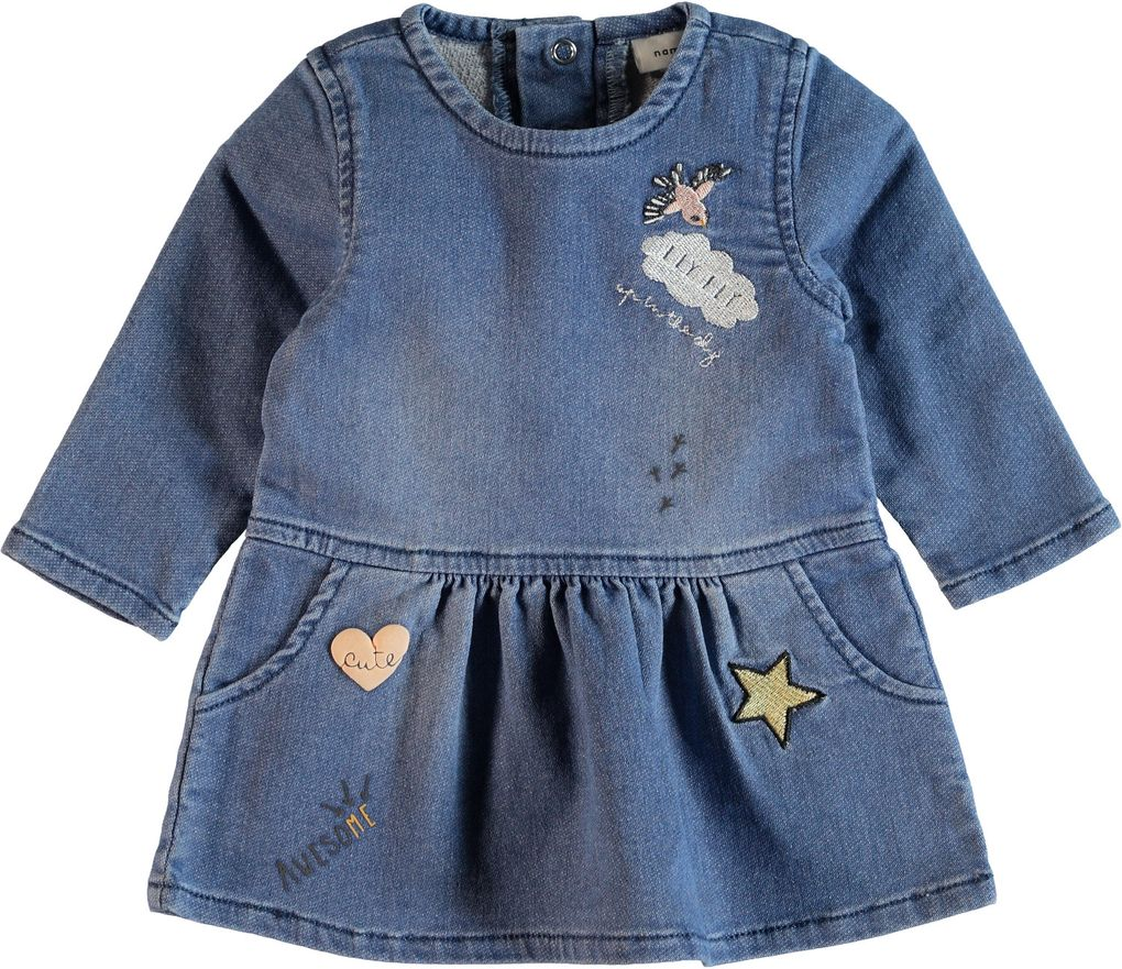 Name it Baby Mädchen Jeanskleid langarm mit Patches Nitarona