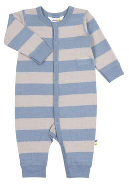 Joha Baby Schlafstrampler aus reiner Merinowolle blau/grau gestreift 001