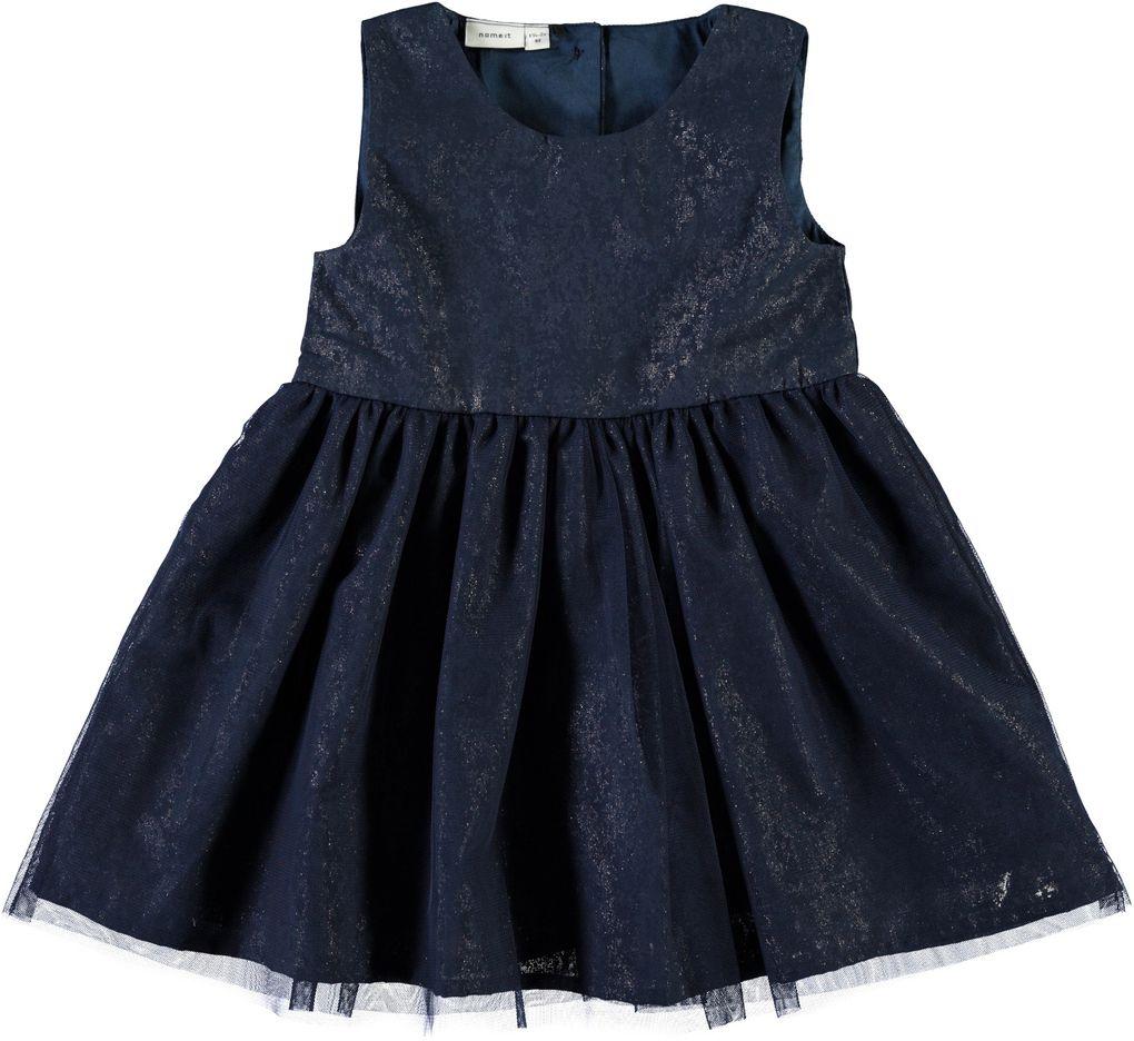 Name it Mädchen Kleid mit Tüll festlich dunkelblau Nitfitter